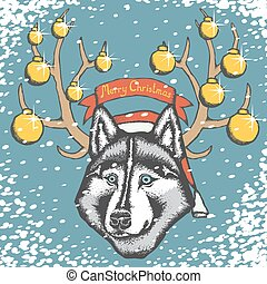Vector siberian husky - Christmas dog concept. Vector...
