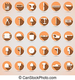 Construction orange icons with shadow