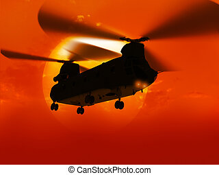 Helicopter CH-47 flying over sun