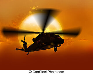 Helicopter UH-60 flying over sun - 3d rendering of...