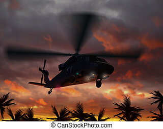 Helicopter UH-60 flying in sunset sky - 3d rendering of...