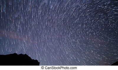 Star tracks on a background of mountains. TimeLapse. UltraHD...