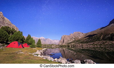 Stars reflected in the lake. TimeLapse. Pamir, Tajikistan ....