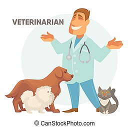 Vector illustration of a veterinarian with cute puppy dog...