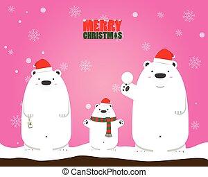 Merry Christmas white polar bear family
