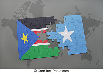 puzzle with the national flag of south sudan and somalia on...