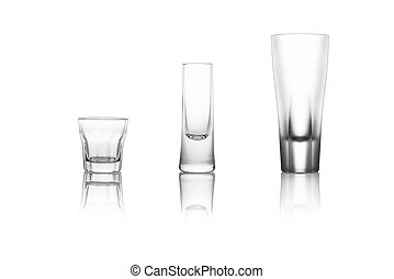 Three different liquor glasses on a white background