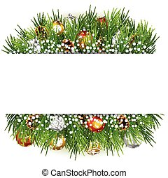 Christmas background with pine cone, ball and fir in snow
