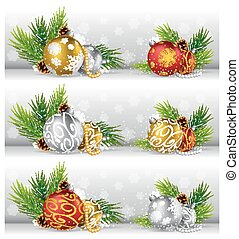 Christmas background with pine cone, ball and fir - Vector...