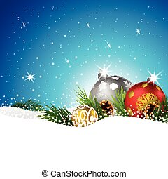 Christmas balls with fir and pine cone on the snow - Vector...