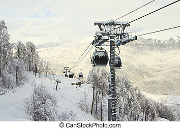 Sochi, Russian Federation – January 02, 2016: Cable Car...