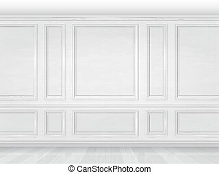 white wooden wall panel - The wall decorated with white...