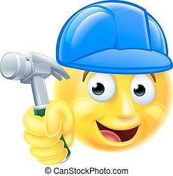 Handy Man Carpenter Builder Emoji Emoticon - A cartoon handy...