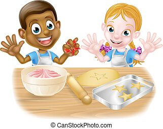 Kid Bakers Cooking - Cartoon boy and girl children chef...