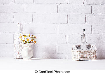 Home interior decoration, bouquet of daisies in white vase,...