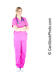 Assertive female surgeon with folded arms smiling