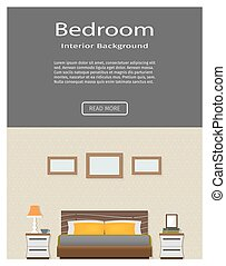 Web banner of modern bedroom interior with furniture. Flat...