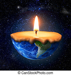 Eco concept. Half-burned planet in form of candle on the...