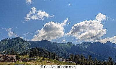 Rosa Khutor Plateau. HDR, Sochi, Russia. Time Lapse. UltraHD...