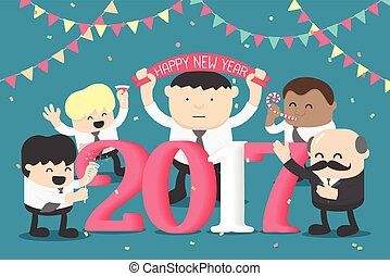 Group of Business celebrating New Year happy numbers 2017,...