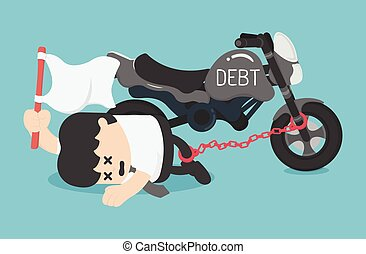 Cartoon Character Business chained on ankle the debt of a...