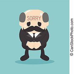 business man Written sorry sign on the Forehead  vector