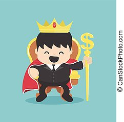 A successful businessman is sitting on throne crown on his...