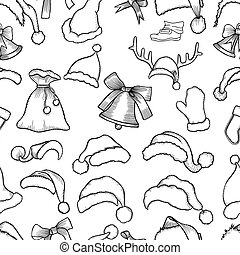 Christmas seamless pattern - Christmas monochrome seamless...