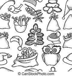 Christmas seamless pattern - Monochrome Christmas seamless...
