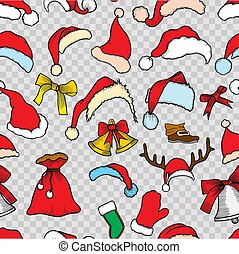 Christmas seamless pattern. Holiday icons, patches,...