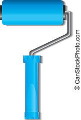 Blue paint roller brush, vector illustration