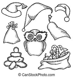 Merry Christmas attributes. - Monochrome sketch patch badges...