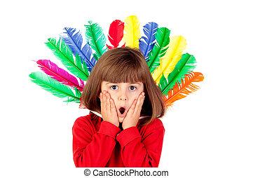 colorfully, niña, plumas, sorprendido