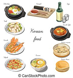 Korean cuisine set. Collection of food dishes for the...