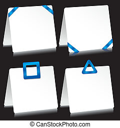 Set of sheets of paper as note pads with  blue barrettes, vector illustration