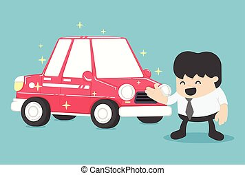 Businessman standing next to new car red  Vector illustration. Concept Business
