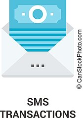 sms transactions icon concept - Modern flat vector...