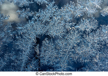Texture of ice hoarfrost - Abstract ice pattern on window in...