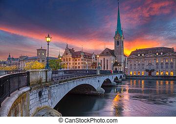 Zurich. - Cityscape image of Zurich, Switzerland during...