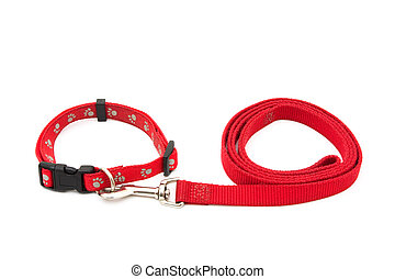 Dog Collar and Leash - A red dog leash and collar isolated...