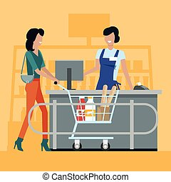 Shopping in Grocery Store Vector Illustration. - Buying...