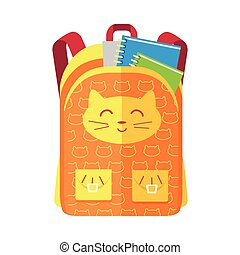 Backpack Schoolbag Icon with Notebook Ruler - Backpack...