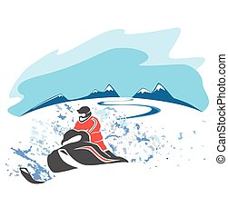 Riding a snowmobile picture
