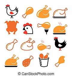 Chicken, fried chicken legs - food icons set - Vector icons...