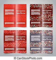 Brochure design templates set with knitted ornament...