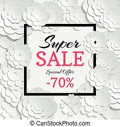 Spring sale banner with vector 3d paper cut flowers and...