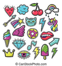 Chic fashion badges. Girl doodle applique patches and embroidered textile stickers