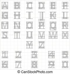 Drafting paper alphabet. Vector drawing sketch letters....