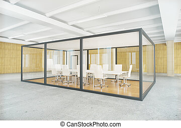 Conference room inside glass box - Modern conference room...