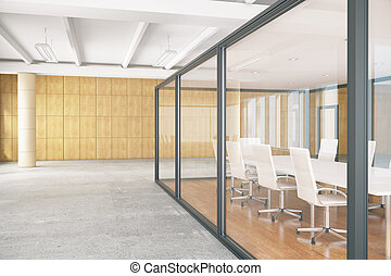 Conference room inside glass box - Side view of conference...